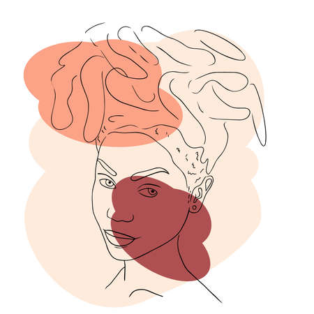Abstract woman face line art minimalistic style