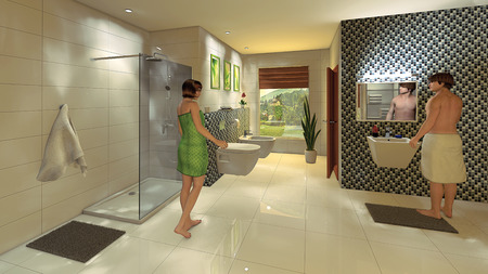A young couple in a modern bathroom with a mosaic wall  Standard-Bild