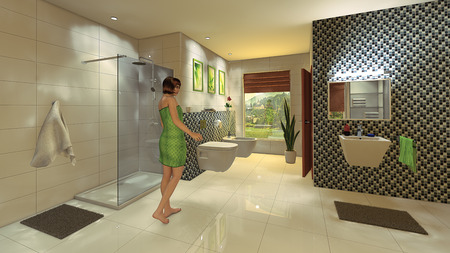 A young woman in a modern bathroom with a mosaic wall