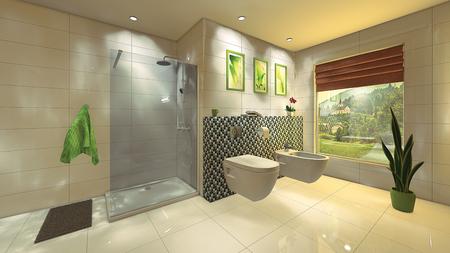 A modern bathroom with a mosaic wall