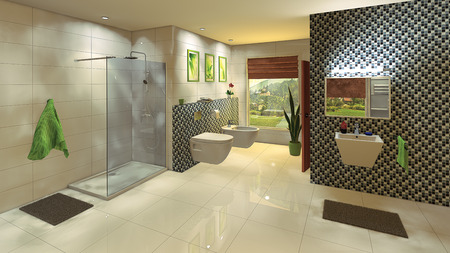 A modern bathroom with a mosaic wall  photo