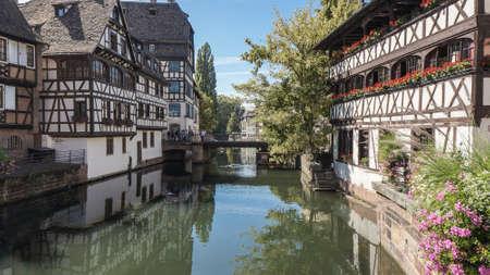 fachwerk: Center of Strasbourg, France. Water canal. Fachwerk building