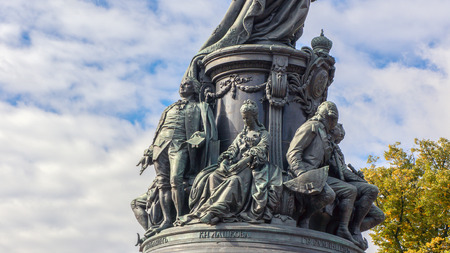 Part of Monument to Catherine the Great in Saint Petersburg, Russia