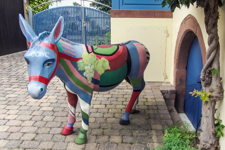 Color statue of a donkey in Germany.