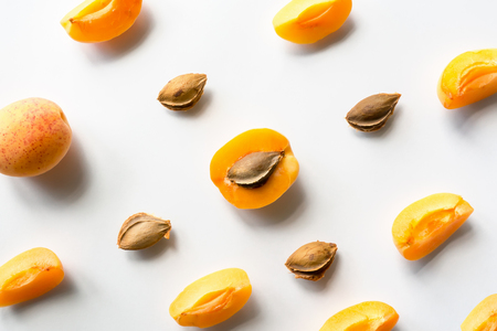 apricot kernels: Apricot background. Top view.
