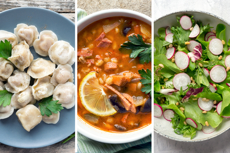 Collage traditional slavic dishes. Dumplings, Meat Soup and Radish Salad.