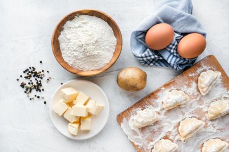 Process of cooking vareniki - traditional slavic dumplings.