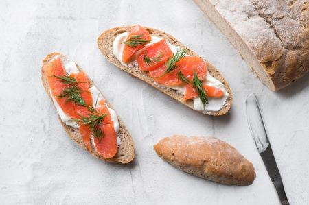 Homemade toast with smoked salmon.