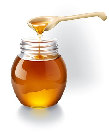 Honey with a wooden spoon. Ilustration. photo