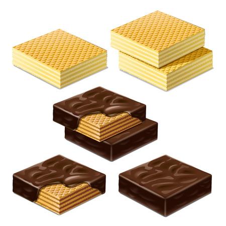 ワッフルとチョコレート艶出しのワッフル。図 写真素材