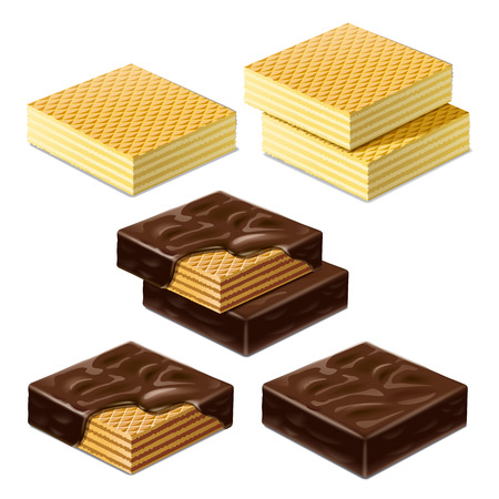Waffles and waffles in chocolate glaze. Illustration Imagens