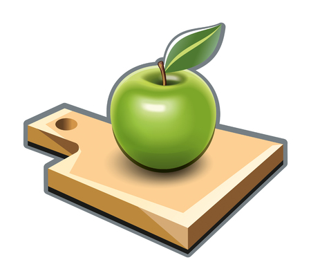 Cutting board with green apple illustration