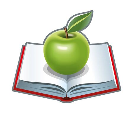 foodstuffs: Cookbook with green apple illustration Stock Photo