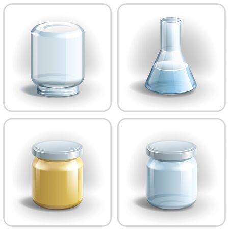 Glass bottles and flask. illustration