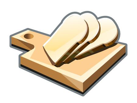 aliments: Couper les tranches de pain sur une planche � d�couper illustration