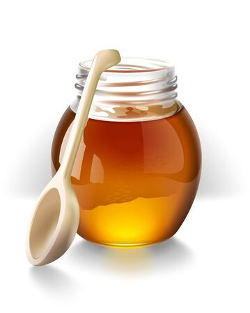 Honey with a wooden spoon illustration illustration