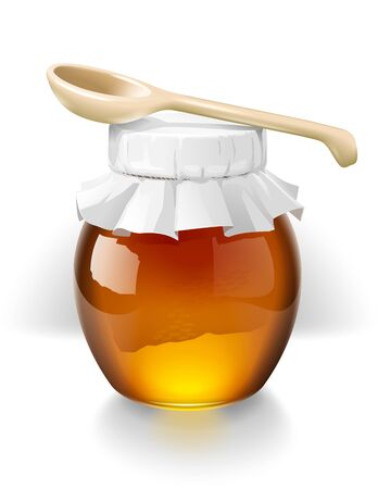 wooden spoon: Honey class and wooden spoon illustration Stock Photo