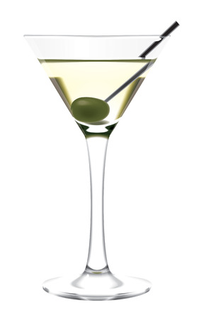 Martini glass and olive illustration Imagens