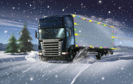 Christmas truck in winter Stock Photo