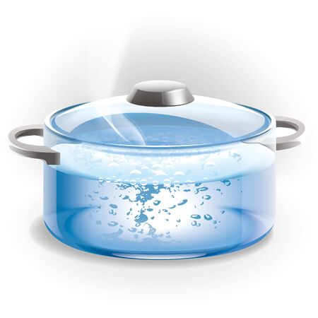 Glass pot of boiling water Illustration.
