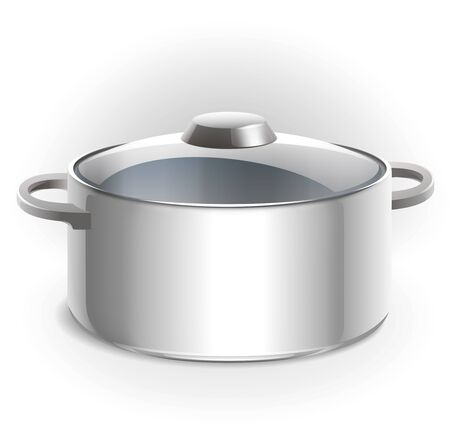 Empty metal pan with lid illustration