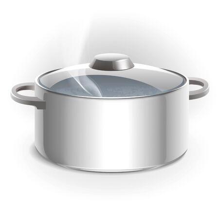steam cooker: Metal pan illustration Stock Photo