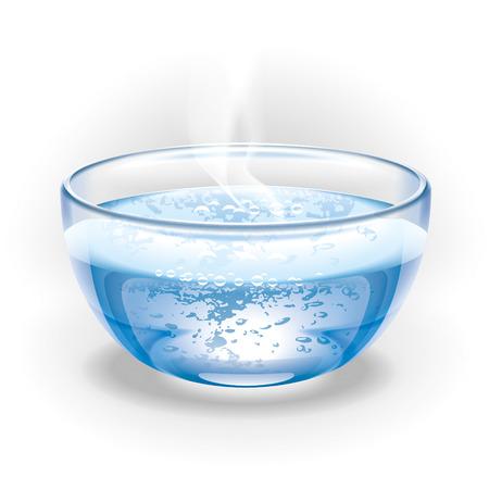 유리 컵 끓는 물입니다. 삽화.