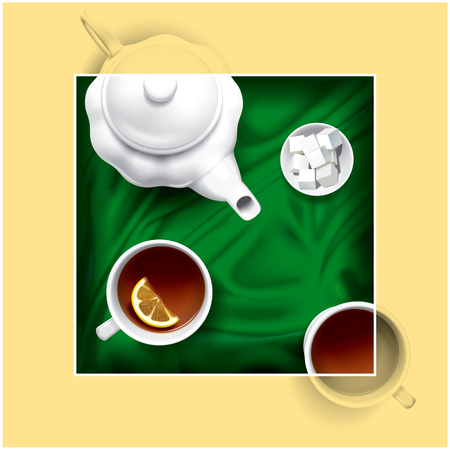 composition: Tea set composition illustration