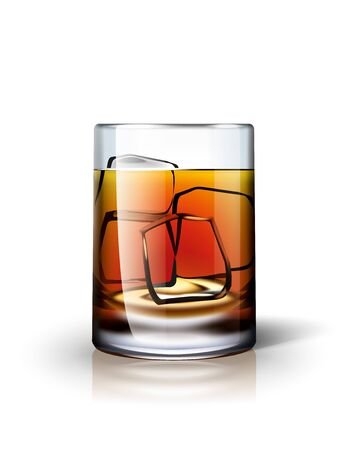 brandy: Alcoholic drink with ice illustration