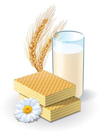 Waffles and milk illustration Stok Fotoğraf