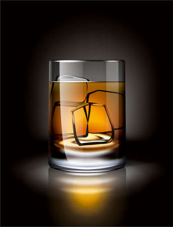 brandy: Alcoholic drink with ice in a dark environment illustration