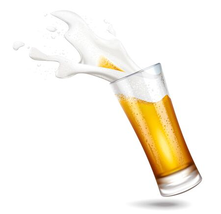 Beer and splashes foam