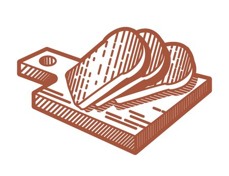 cutting board: Bread on a cutting board Stock Photo