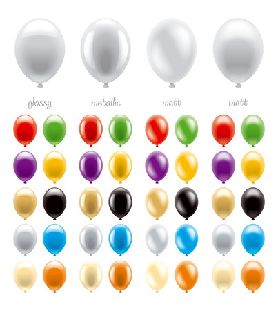 set of balloons of different types and colors