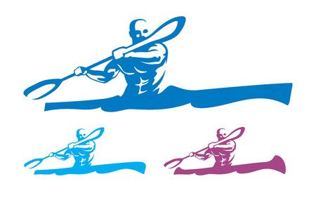 Canoeing emblem set