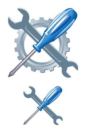 Tools emblem. Gear, keys and a screwdriver.