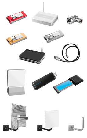 expansion card: Modems and communication equipment set Stock Photo