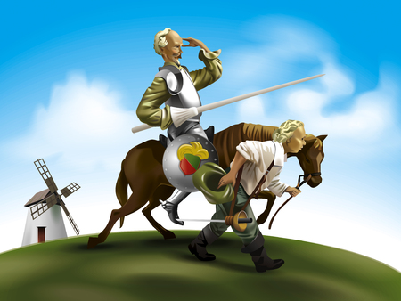 Don Quixote and his assistant