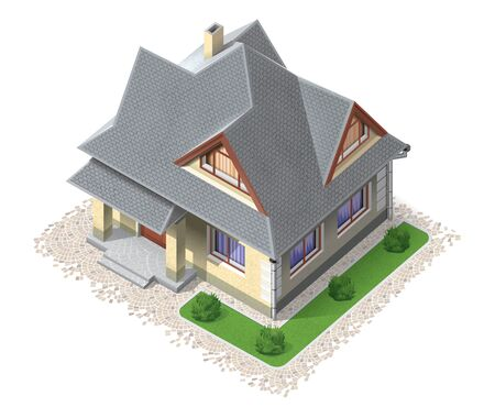 roof shingles: Private building top view Stock Photo