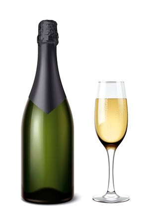 Champagne bottle with wineglass