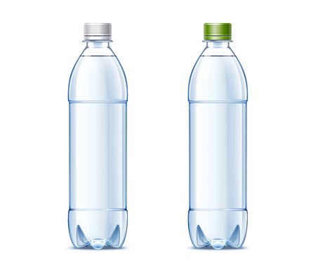Blank plastic bottles of 0.5 liter with drinking water Stock Photo