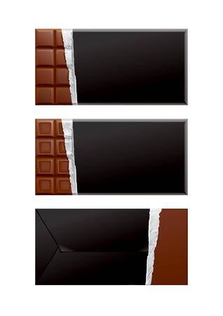 confection: Chocolate blank package. Black wrapper