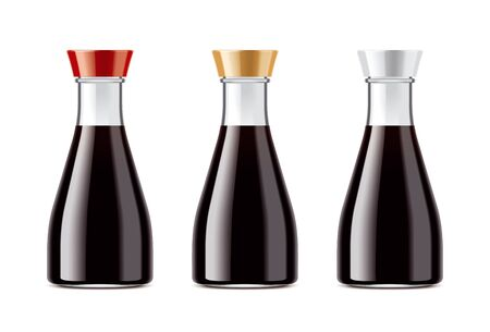 Botellas transparentes en blanco para salsa de soja Foto de archivo