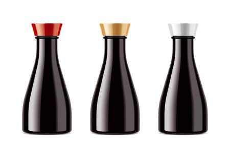 Blank bottles for soy sauce Stok Fotoğraf