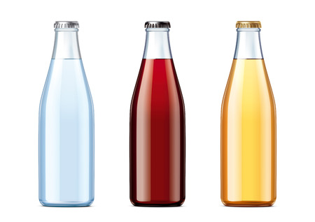 Blank glass bottles with lids of different colors Фото со стока