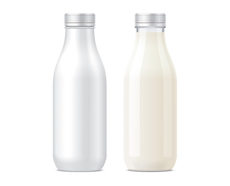 Bottles mockups for Milk drinks Stock Photo