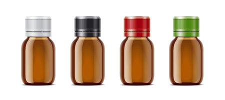 Blank bottles of mockups for syrup or other pharmaceutical liquids. Transparent small light brown bottles