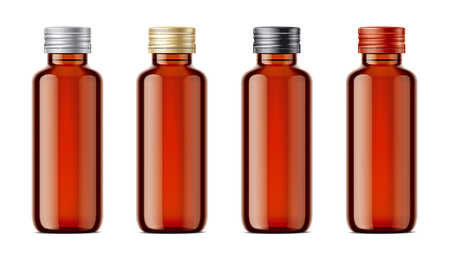 Blank bottles of mockups for syrup or other pharmaceutical liquids. Light brown bottles with metal lid.
