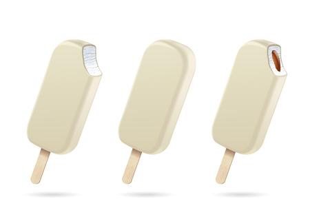 アイスクリーム。ホワイトチョコレートグレーズ 写真素材