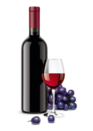 Wine bottle, Grapes and Wineglass